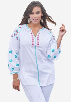 Cotton Embroidered Tunic with Poet Sleeves, WHITE MULTI, hi-res