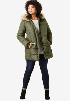 Classic-Length Quilted Parka with Hood, DARK OLIVE GREEN