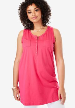 Two-Pocket Henley Maxi Tank,