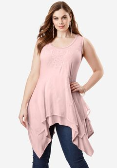 Layered Eyelet Tunic, PALE BLUSH, hi-res