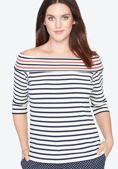 Striped Boatneck Shirt by Castaluna, STRIPES, hi-res