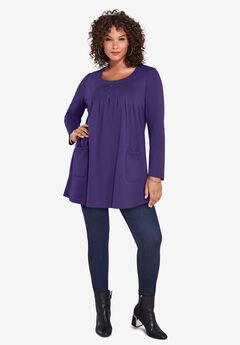 Long-Sleeve Two-Pocket Soft Knit Tunic, MIDNIGHT VIOLET
