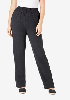 Straight-Leg Soft Knit Pant, HEATHER CHARCOAL