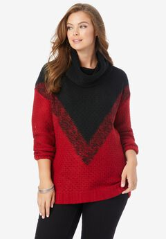 Ombre Pattern Sweater, CLASSIC RED BLACK