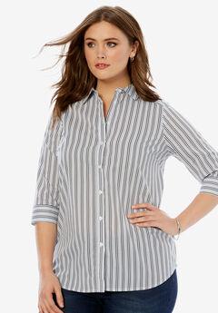 Three-Quarter Sleeve Kate Shirt, NAVY STRIPE