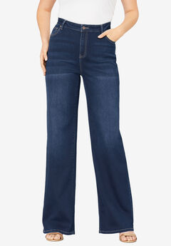 Wide-Leg Jean with Invisible Stretch® by Denim 24/7®, DARK WASH