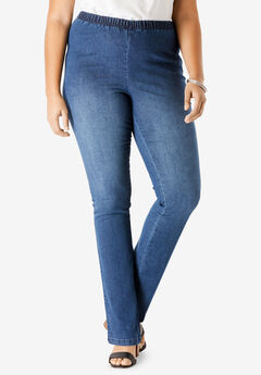 Straight-Leg Pull-On Stretch Denim Jean by Denim 24/7®, MEDIUM STONEWASH SANDED