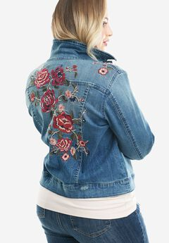 Denim 24/7® Embroidered Jean Jacket, MEDIUM STONEWASH, hi-res