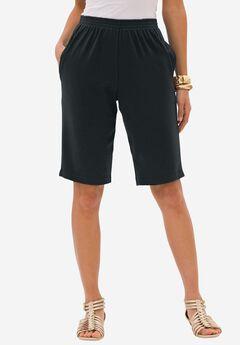 Soft Knit Bermuda Short, BLACK