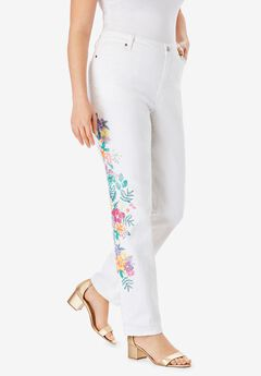 Floral Print Straight-Leg Jean by Denim 24/7®,