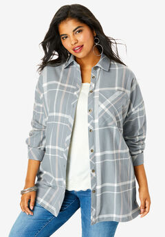 Flannel Tunic, GUNMETAL OPEN PLAID