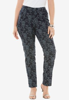 Jacquard Embroidered Straight Leg Jean by Denim 24/7®.,