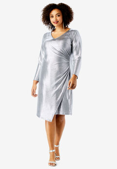 Metallic V-Neck Dress with Side Ruching by Ronnie Nicole, SILVER SHIMMER