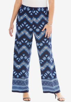 Wide Leg Pants , BLUE CHEVRON PRINT