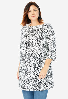 Boatneck Ultimate Tunic with Side Slits, BLACK WHITE ANIMAL