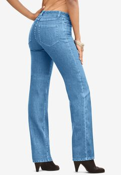 Straight-Leg Jean with Invisible Stretch® by Denim 24/7®, LIGHT STONEWASH