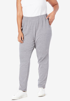 Ankle-Length Soft Knit Pant, MEDIUM HEATHER GREY