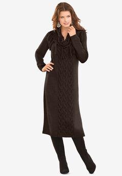 Fringed Cowl-Neck Sweater Dress, CHOCOLATE