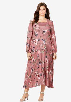 V-Neck Pleated Dress,