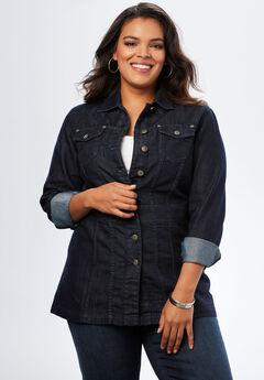 Long Jean Jacket, BLACK BLUE DENIM, hi-res