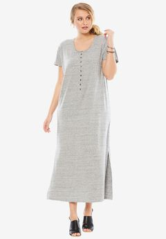 Henley Maxi T-Shirt Dress, MEDIUM HEATHER GREY, hi-res