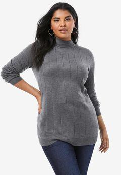 Fine Gauge Drop Needle Mockneck Sweater, MEDIUM HEATHER GREY