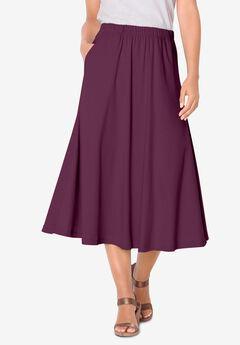 Soft Knit Midi Skirt, DARK BERRY