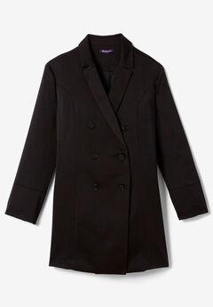 Long Satin Blazer, BLACK