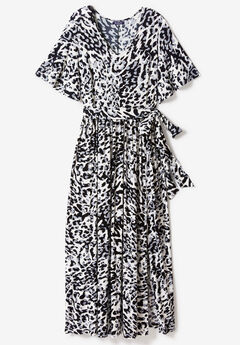 Belted Maxi Dress with Flutter Sleeves, IVORY MULTI ANIMAL