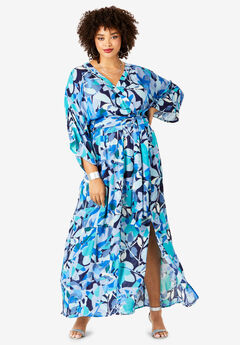 Crinkle Belted Maxi Dress, BLUE ABSTRACT PRINT