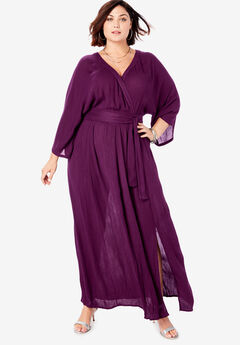 Crinkle Belted Maxi Dress, DARK BERRY