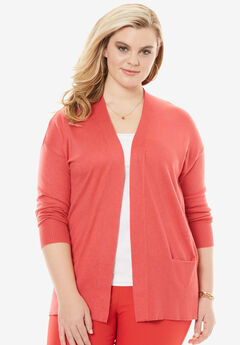 Open-Front Cardigan, CORAL RED, hi-res