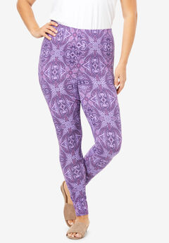 Essential Stretch Legging, PURPLE ABSTRACT MEDALLION