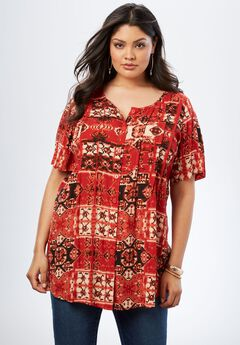 Angelina Tunic in Crinkle Crepe, RED TAPESTRY