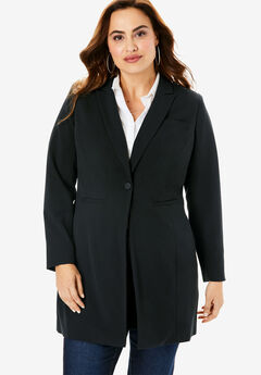Long Two-Way Stretch Blazer, BLACK, hi-res