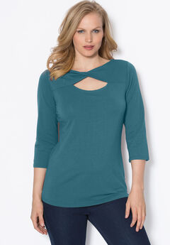 Twist Neck Runway Tee, EVENING CLOUD, hi-res