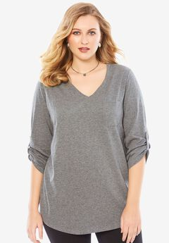 Lightweight Textured Slub Knit Boyfriend Tunic, MEDIUM HEATHER GREY, hi-res