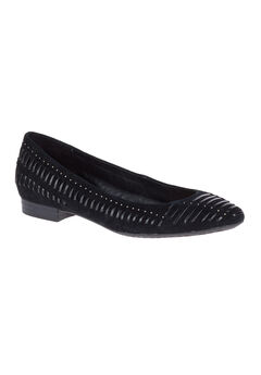 Phoebe Ladder Stud Flats by Hush Puppies®, BLACK SUEDE, hi-res