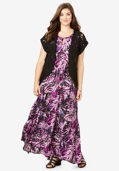 Crinkle A-Line Maxi Dress, PURPLE TROPICAL LEAVES