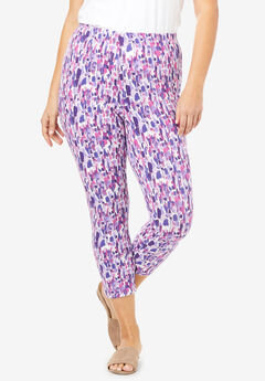 Essential Stretch Capri Legging, PURPLE BRUSHSTROKE PRINT