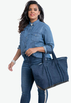 Two-Piece Denim Tote Set, MEDIUM STONEWASH, hi-res