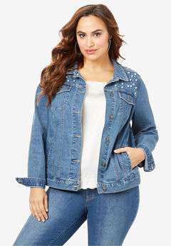 Statement Denim Jacket, RHINESTONE PEARL