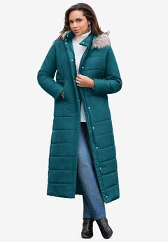 Maxi-Length Quilted Parka with Hood, DEEP LAGOON