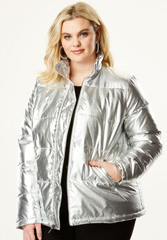 Metallic Ultimate Puffer Jacket, SILVER