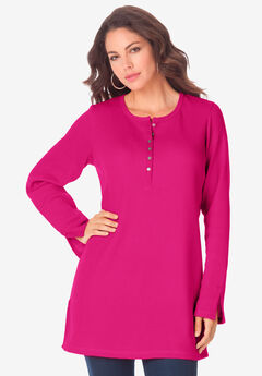 Thermal Henley Tunic, VIVID PINK