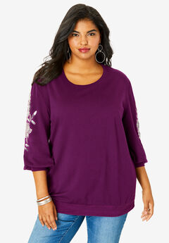 Embellished Sweatshirt Tunic, DARK BERRY
