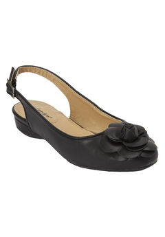 Jessa Slingback Flat by Comfortview®, BLACK, hi-res