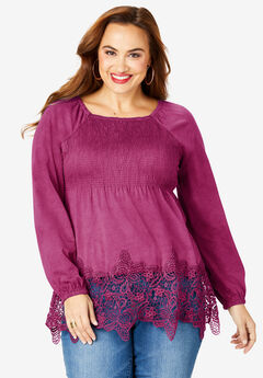 Lace-Hem Babydoll Tunic, BERRY TWIST