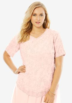 Sequin Beaded Top, PALE BLUSH, hi-res