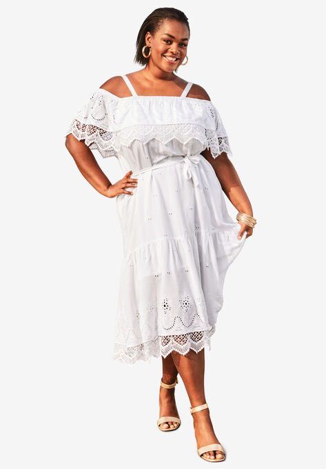 Tiered Eyelet Dress with Lace Trim